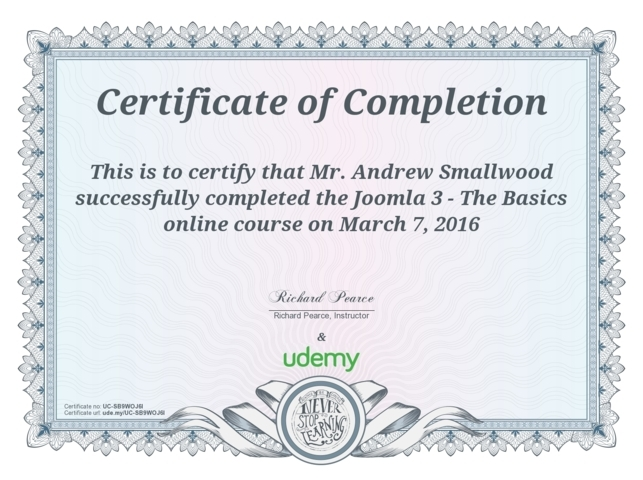 Joomla 3 The Basics Course Completion
