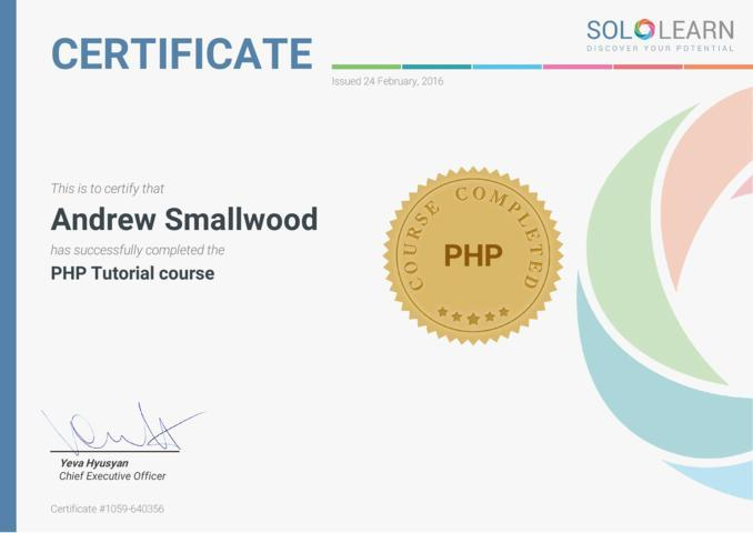 PHP Sololearn Cerfication