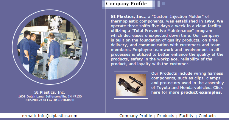 Southern Indiana Plastics Previous Website Screenshot