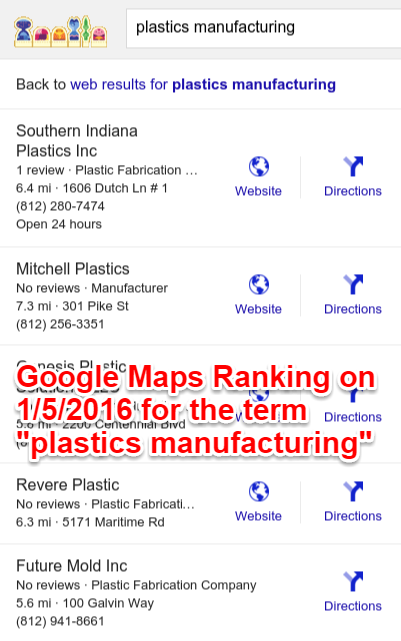 Number One Google Maps Ranking Plastic Manufacturing