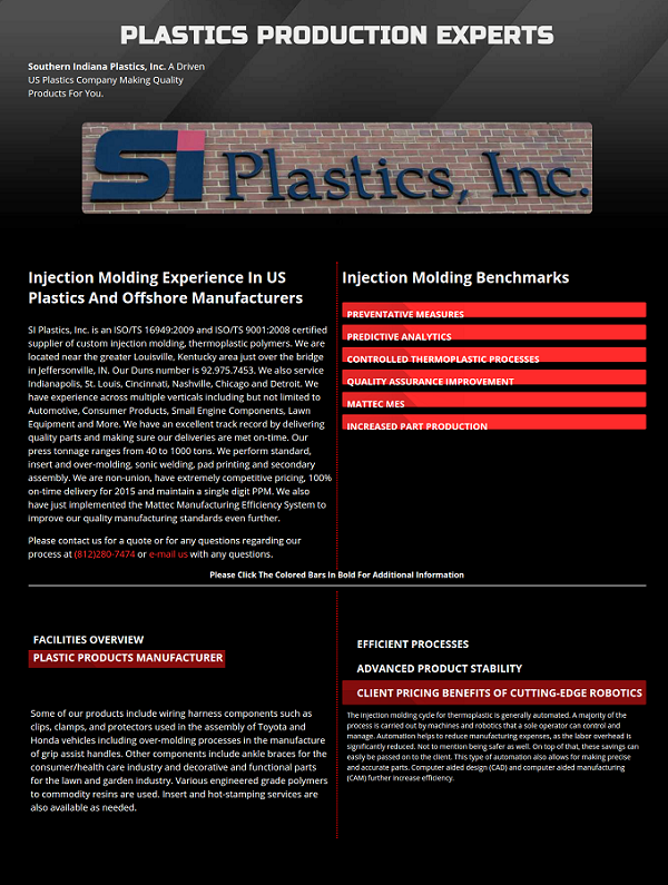 manufacturing web design and seo project